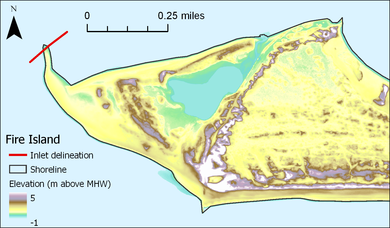 Example shoreline polygon (black) and inlet delineation (red line) overlain on the DEM.