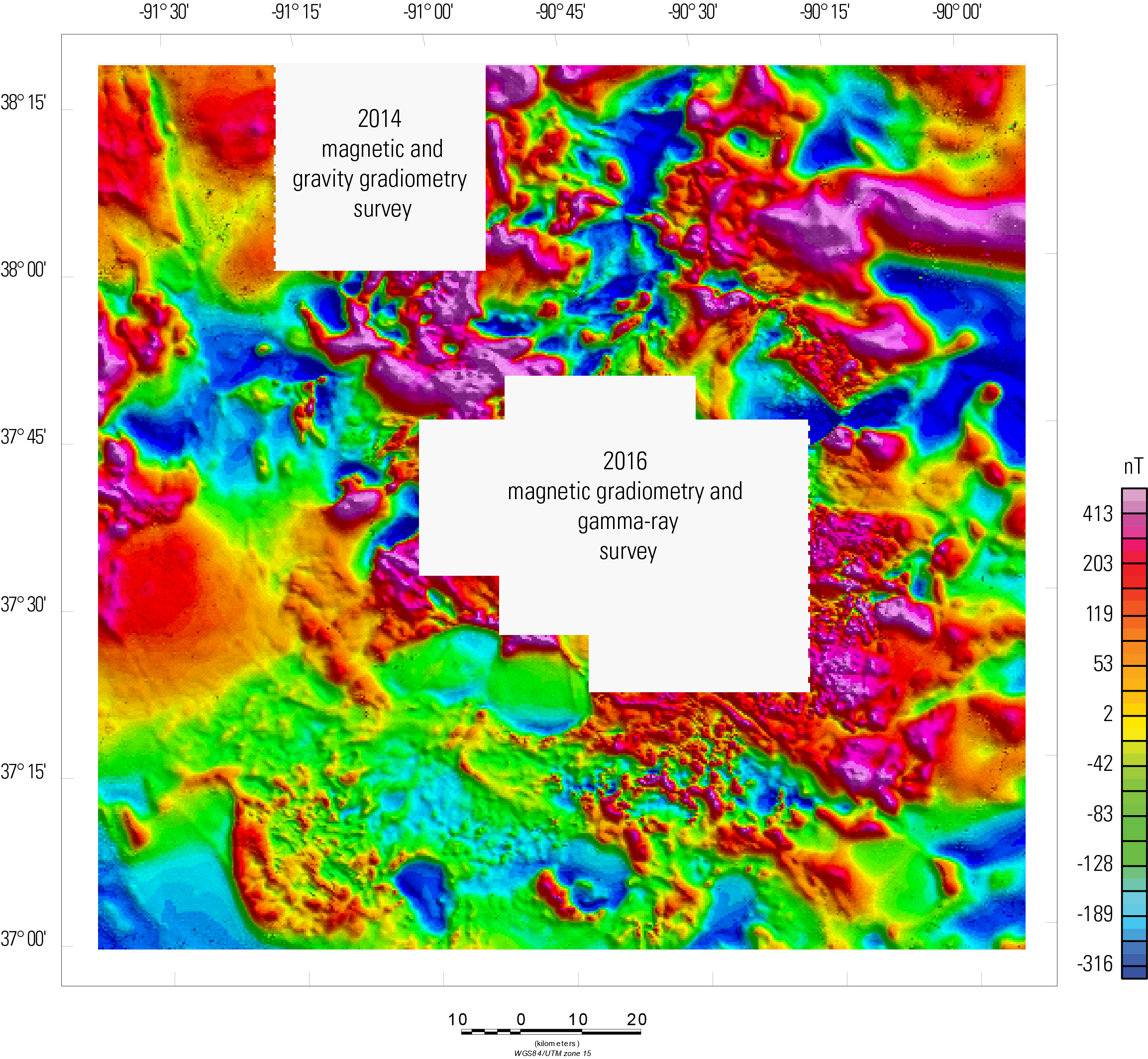 Total magnetic intensity map of the study area, with legend to the right.