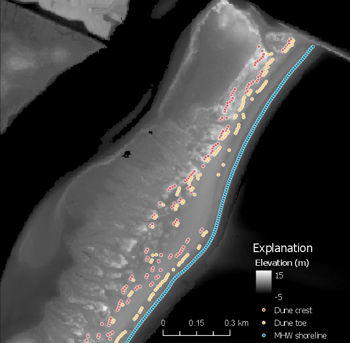 Example geomorphology points (mean high water shoreline, dune toe, and dune crest) overlain on the DEM. This example is for Assateague Island, MD and may not represent this dataset.