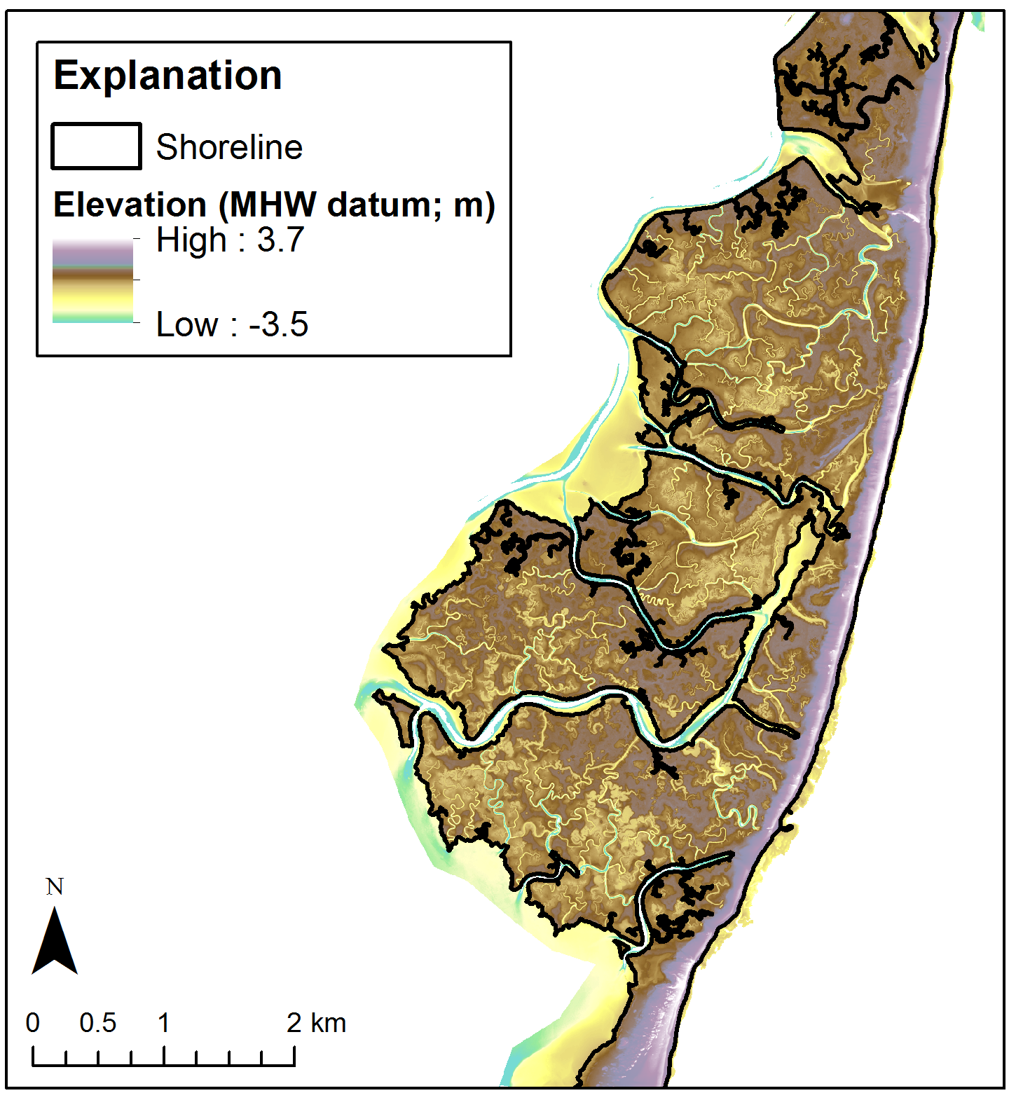 Example DEM. This example is for Cedar Island, VA and does not represent this dataset.