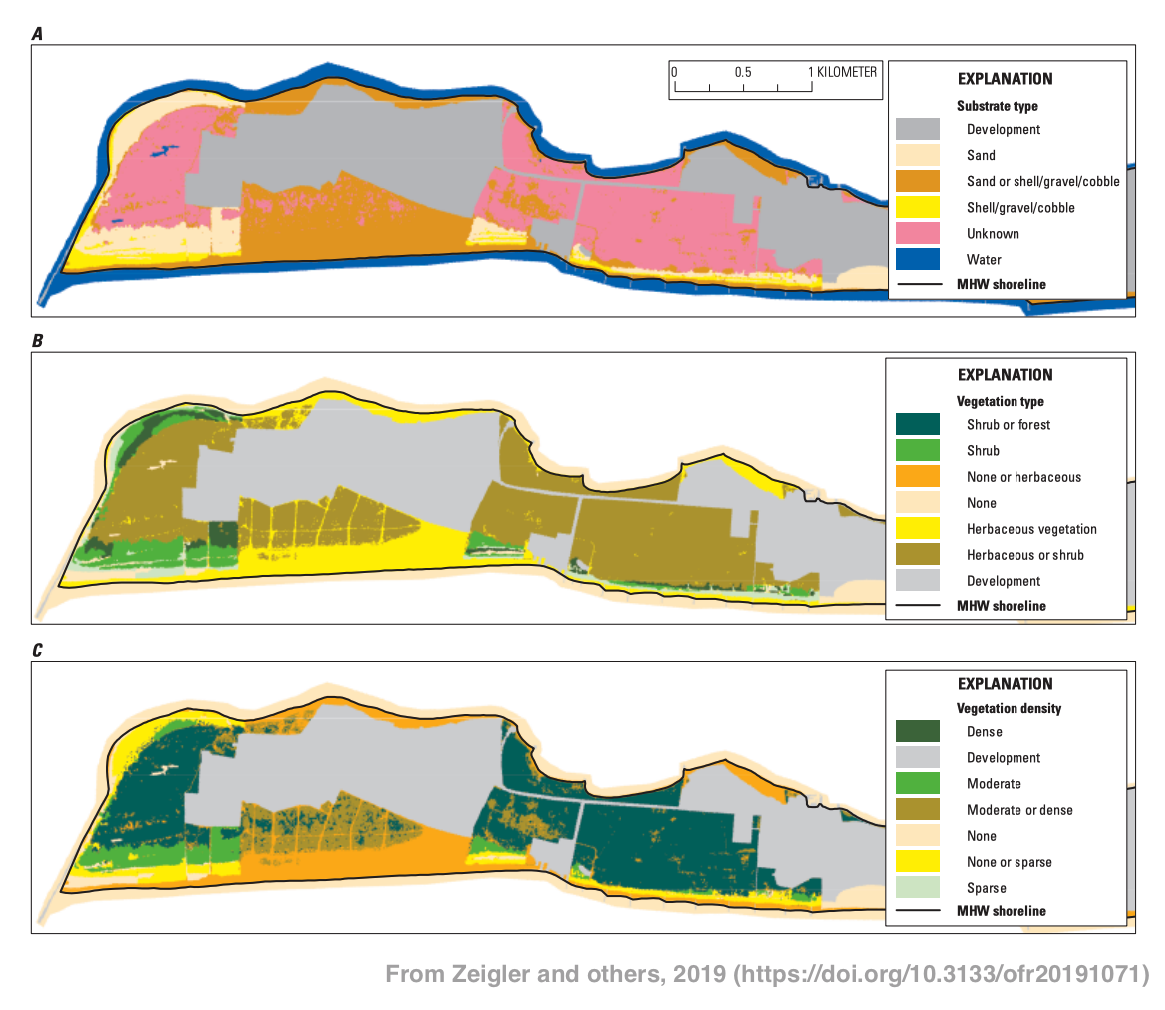 Examples of substrate type, vegetation type, and vegetation density raster layers. These examples are for Rockaway Peninsula, NY and do not represent this dataset.