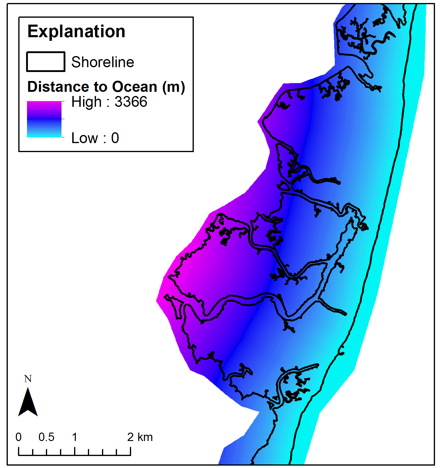 Example of distance to ocean raster. This example is for Cedar Island, VA and does not represent this dataset.
