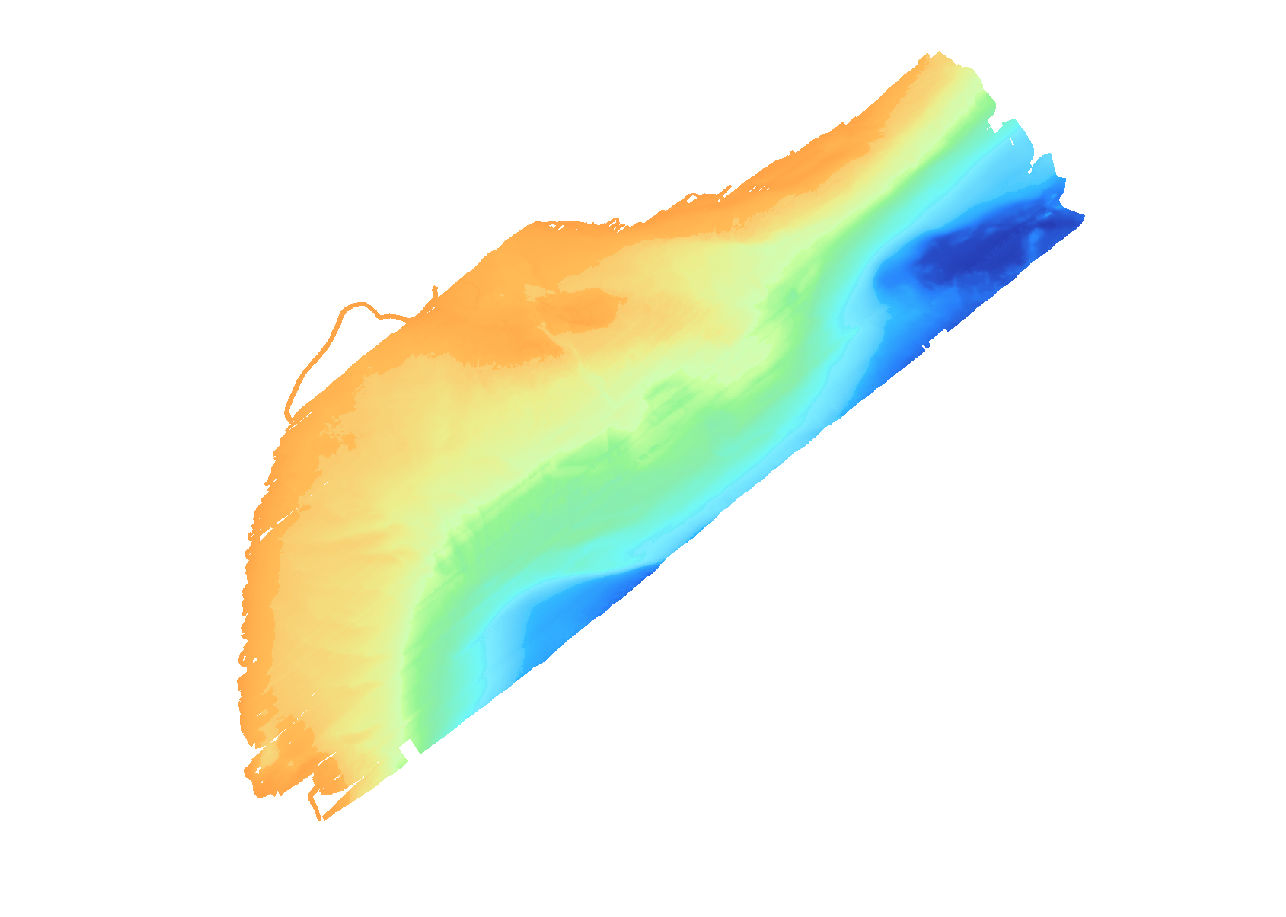 Thumbnail image of 2-m multibeam echosounder bathymetry data collected within Grand Traverse Bay, MI.