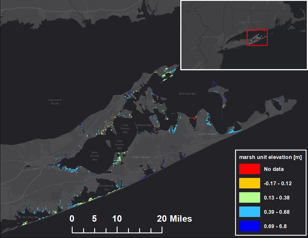 Graphic that shows elevation of conceptual marsh units of the eastern Long Island salt marsh complex.