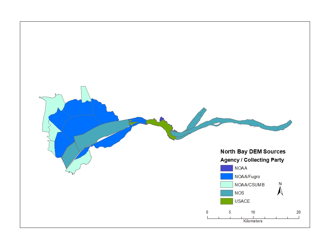 Map showing footprints and sources of bathymetric digital elevation models (DEMs) from the northern portion of San Francisco Bay compiled to create the high-resolution (1 m) DEM.