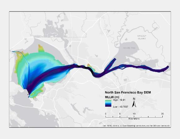Bathymetric map of the northern portion of San Francisco Bay (MLLW)
