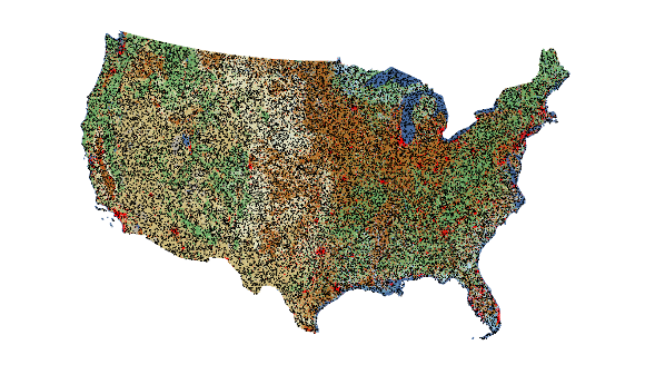 LCMAP reference sample distribution across CONUS on simulated background