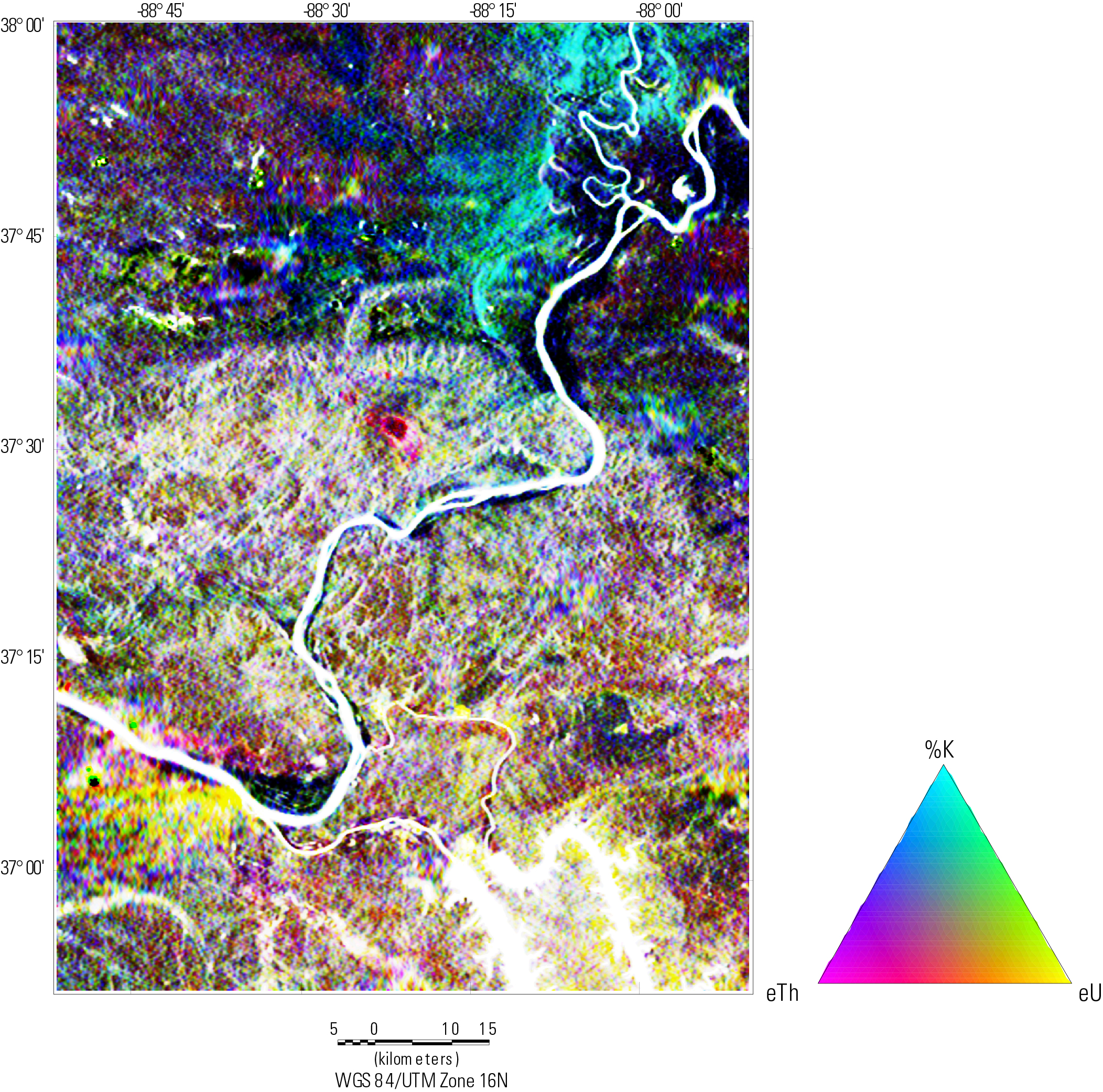Ternary map image of radiometric data (U, Th, and K combined).  Legend below map image.