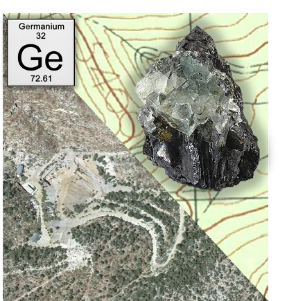 Germanium symbol - Map view of Apex site - Sphalerite mineral