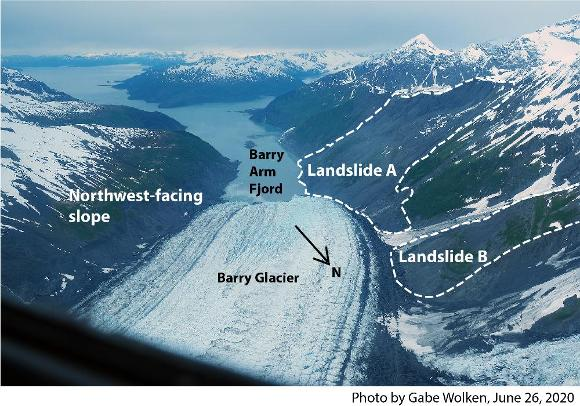 Annotated photo showing landslide areas
