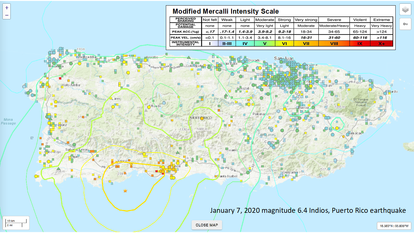 Map of Puerto Rico with symbols of different colors showing the intensity determined from DYFI felt reports for the  Jan 7, 2020 magnitude 6.4 Indios, Puerto Rico earthquake